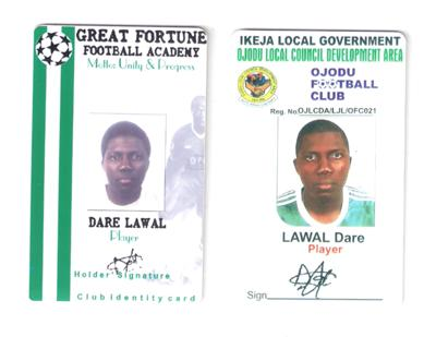 Resume For Dare Lawal - A footballer Lagos Nigeria 3